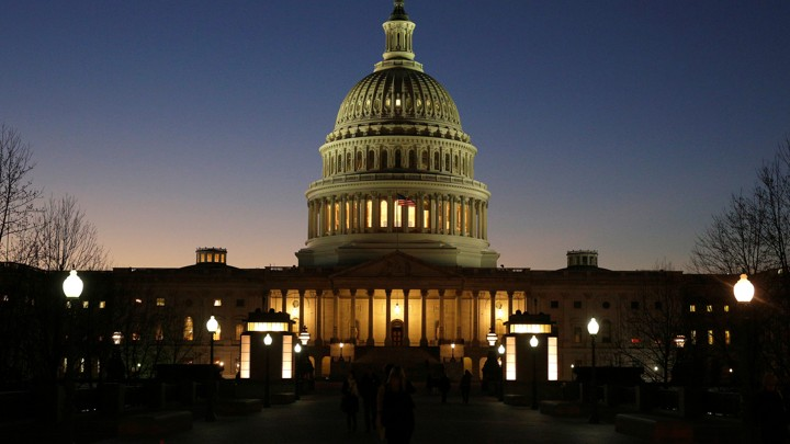 The Capitol Hill building at night