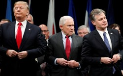 President Trump, Attorney General Jeff Sessions, and FBI Director Christopher Wray