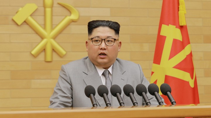North Korean leader Kim Jong Un delivers his New Year's Day address.