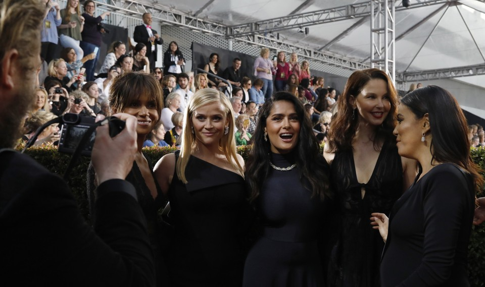 Actresses Halle Berry, Reese Witherspoon, Salma Hayek, Ashley Judd, and Eva Longoria on the red carpet of the 75th Golden Globes