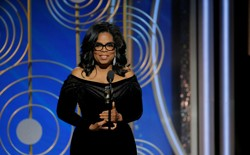 Oprah Winfrey speaks after accepting the Cecil B. Demille Award at the 75th Golden Globe Awards