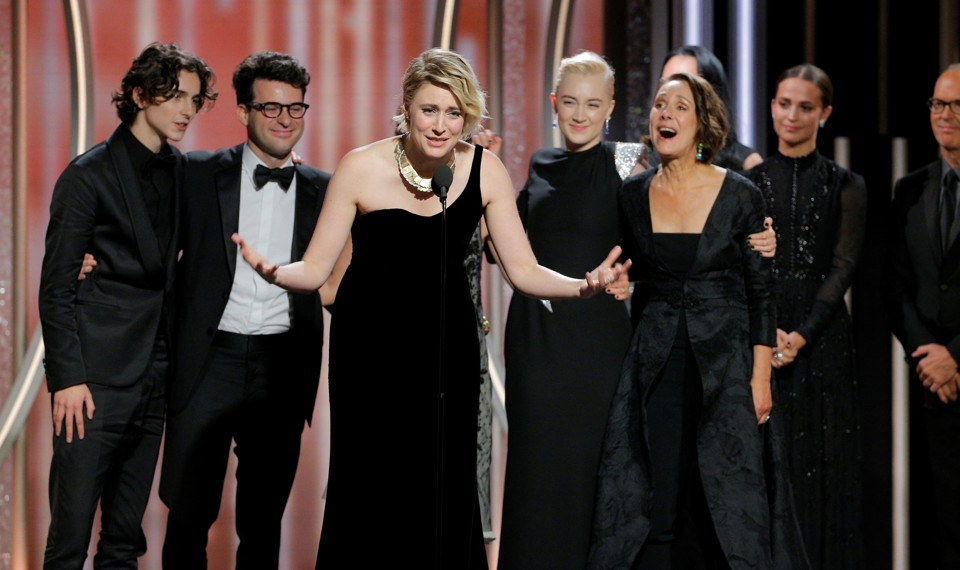 Greta Gerwig on stage with the cast of Lady Bird