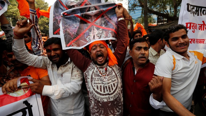 "Members of the Rajput community protest against the release of ""Padmaavat."""
