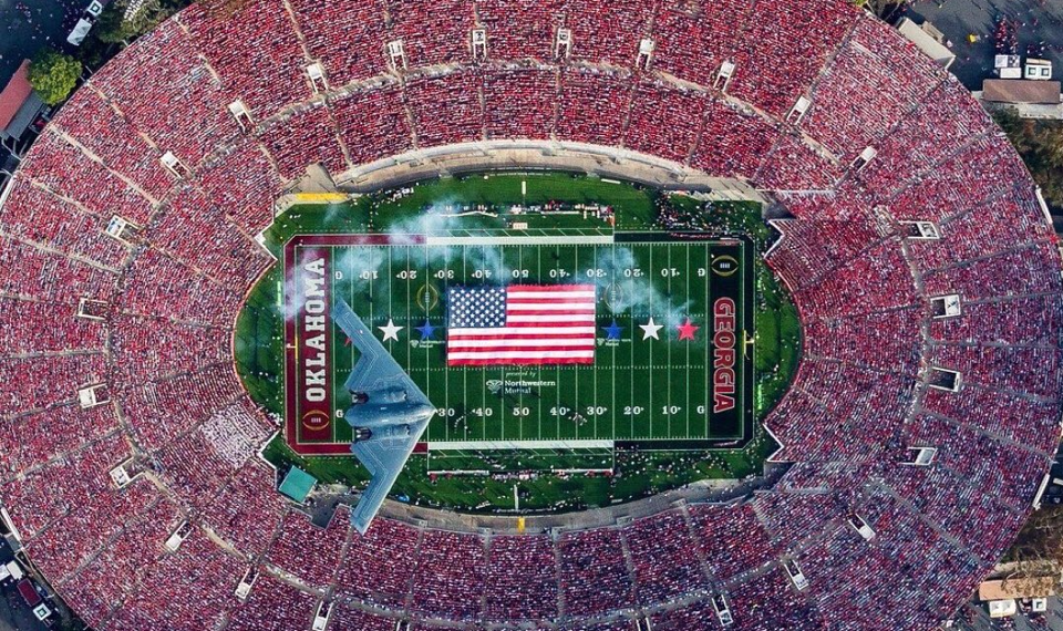 A stealth bomber flies over the Rose Bowl during the Georgia-Oklahoma game January 1, 2018
