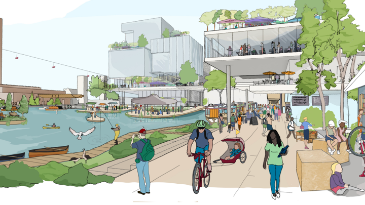 A rendering of Quayside, a neighborhood designed by Sidewalk Labs, a sister company of Google