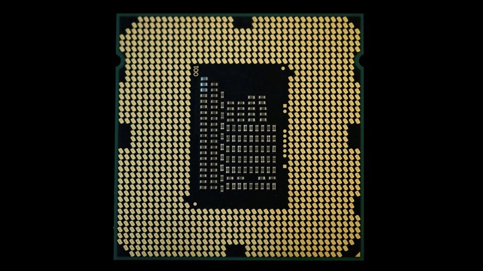 A close-up of a computer microprocessor