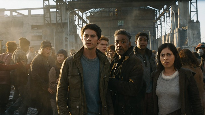 Dylan O'Brien, Giancarlo Esposito, and Rosa Salazar in 'The Maze Runner: Death Cure'