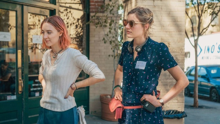 Saoirse Ronan and the director Greta Gerwig on the set of Lady Bird