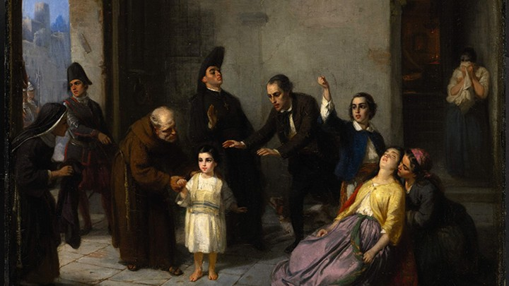 """The Kidnapping of Edgardo Mortara"" is a painting by Moritz Daniel Oppenheim."