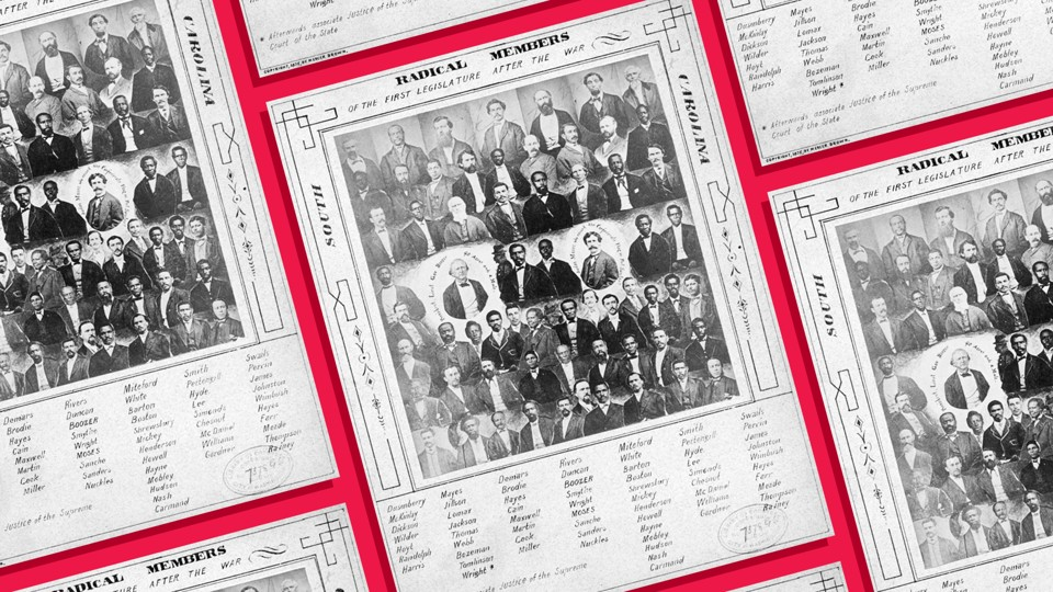 Photomontage of members of the South Carolina legislature following the Civil War, mounted on a card with each lawmaker identified