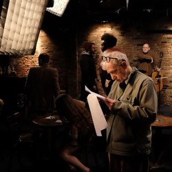 Woody Allen on the set of his TV show, 'Crisis in Six Scenes'