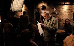 Woody Allen on the set of his TV show, 'Crisis in Six Scenes'