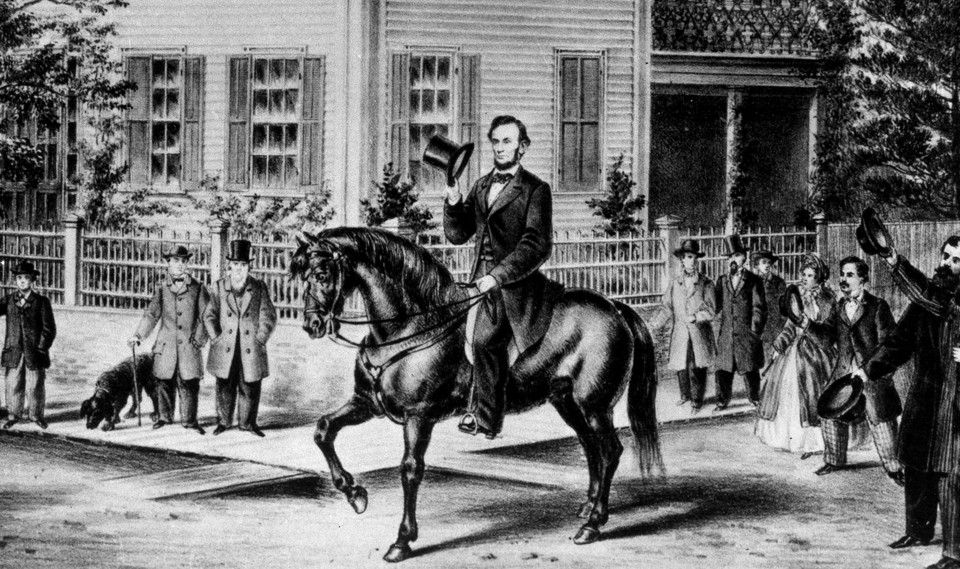 A drawing of Abraham Lincoln on horseback
