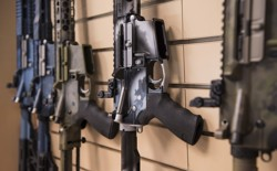 AR-15 rifles on display