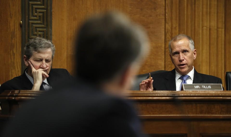 Senators John Kennedy and Thom Tillis at a hearing