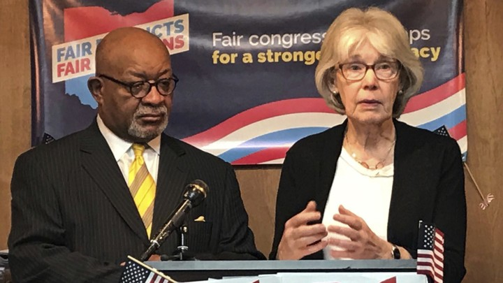 Fair Districts members Sam Gresham and Ann Henkener at a press conference in Columbus, Ohio, in January
