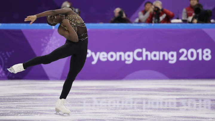 Maé-Bérénice Méité, of France, performs in the ladies single figure skating short program at the Winter Olympics