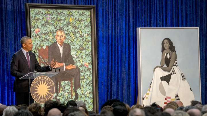 President Barack Obama speaks at the unveiling ceremony for the Obamas' official portraits