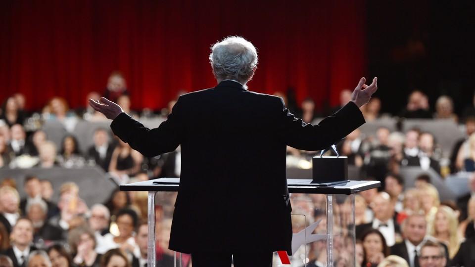Woody Allen speaks onstage during an American Film Institute gala in 2017
