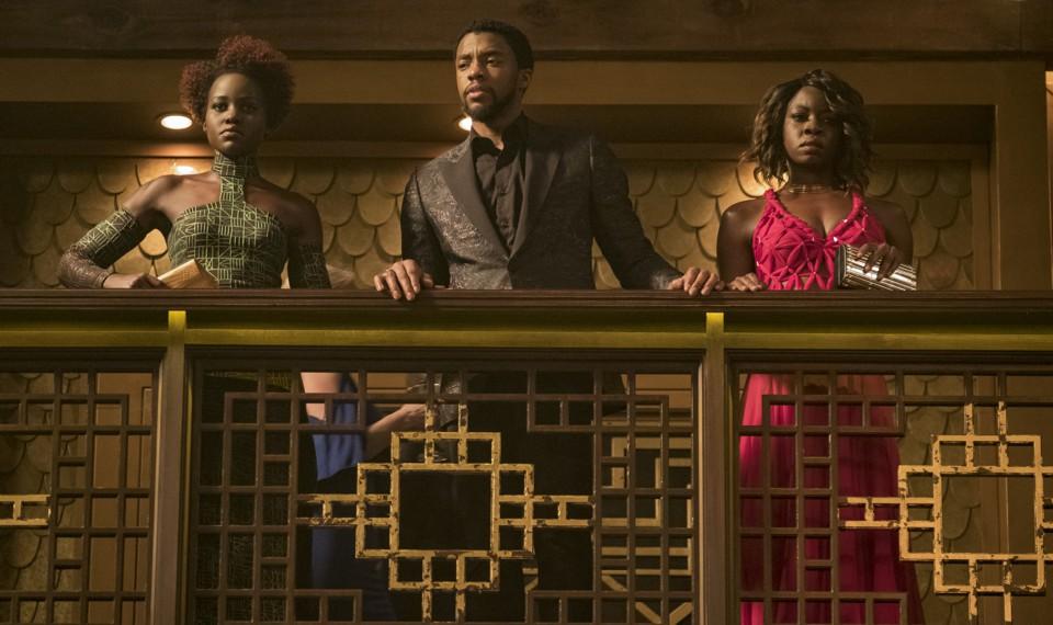 Nakia (Lupita Nyong'o), T'Challa/Black Panther (Chadwick Boseman), and Okoye (Danai Gurira)