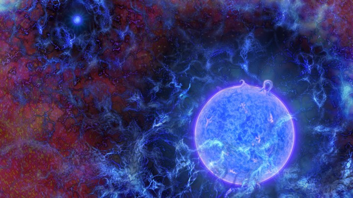 Artist's rendering of the first stars in the universe, orbs of blue light emanating outward in reddish space