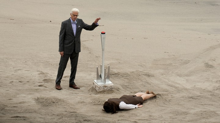 Michael and Janet in a scene from 'The Good Place'