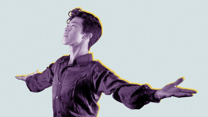 Cutout of figure skater Nathan Chen posing for a portrait