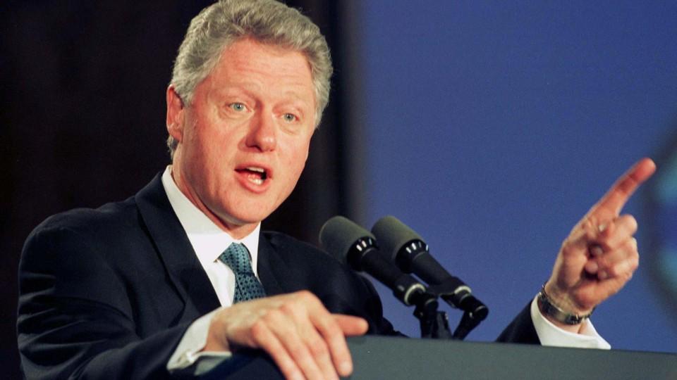 Former President Bill Clinton delivering an address