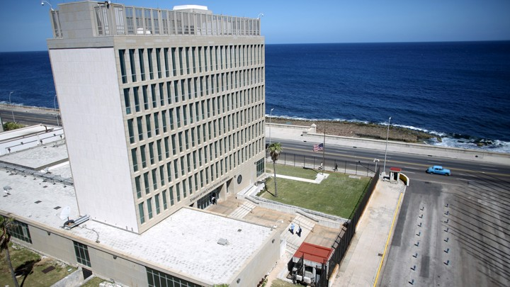 The U.S. Embassy in Havana, Cuba, which is near the ocean