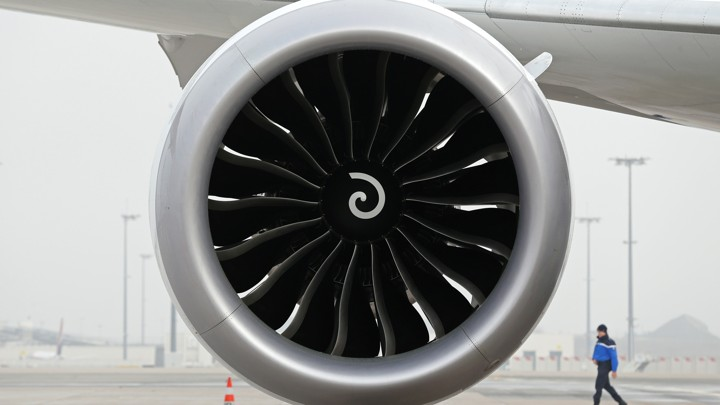 A turbofan on a Boeing 787