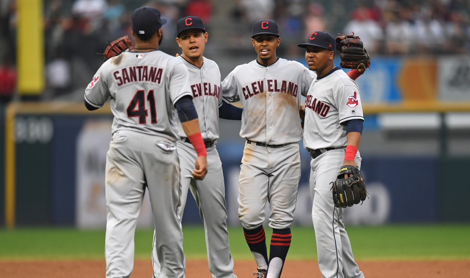 The Cleveland Indians celebrate their victory over the Chicago White Sox