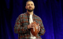 Justin Timberlake at a press conference before the Super Bowl