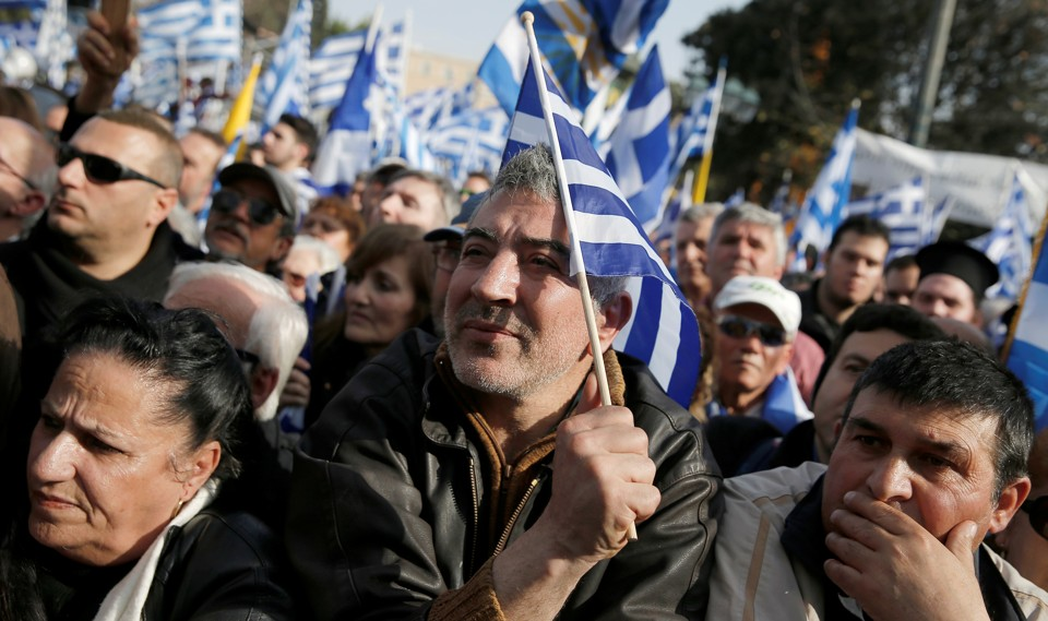 """Peopleprotest against the use of the term """"Macedonia"""" in any settlement to the dispute betweenAthens and Skopje over the former Yugoslav republic's namein Athens, Greece onFebruary 4, 2018."""