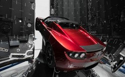 A red Tesla Roadster