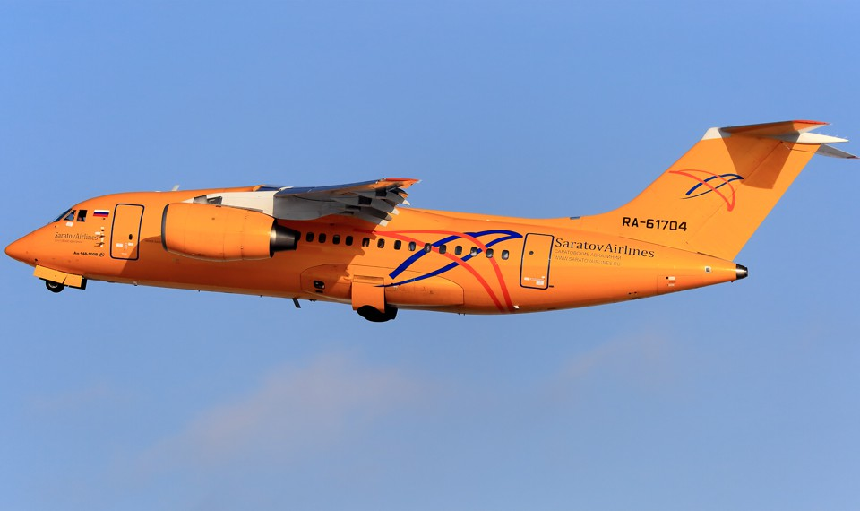 A Saratov Airlines Antonov AN-148 plane takes off from the Domodedovo airport.