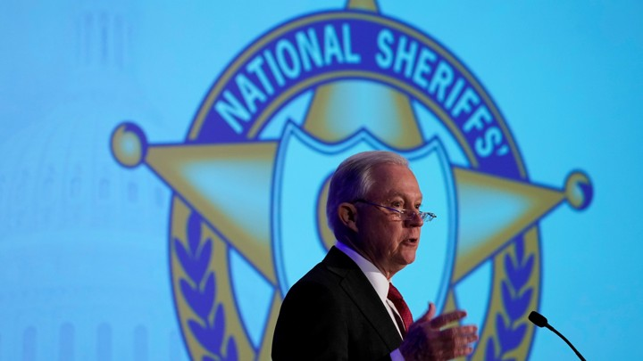 Attorney General Jeff Sessions delivers remarks in front of the National Sheriffs' Association.