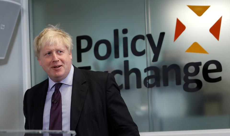 British Foreign Secretary Boris Johnson speaksat the Policy Exchange in London on February 14, 2018.