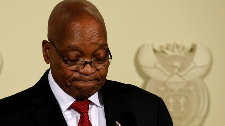 Jacob Zuma looks down as he gives a speech in South Africa.