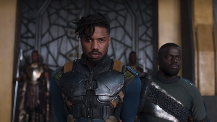 Erik Killmonger (Michael B. Jordan) and W'Kabi (Daniel Kaluuya) in 'Black Panther'