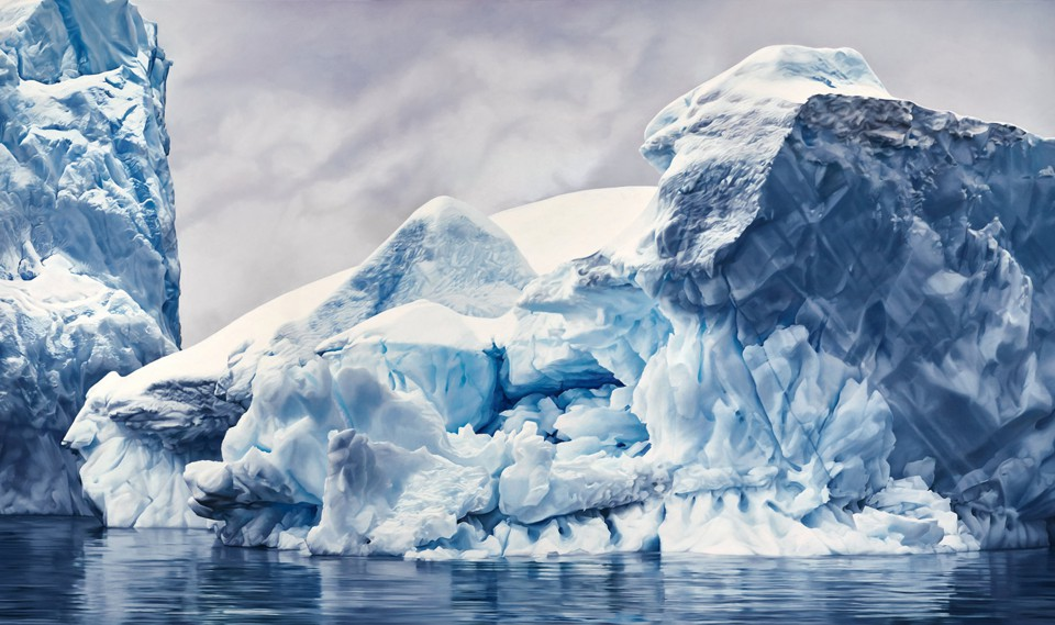 A realistic pastel drawing of glaciers or icebergs in water
