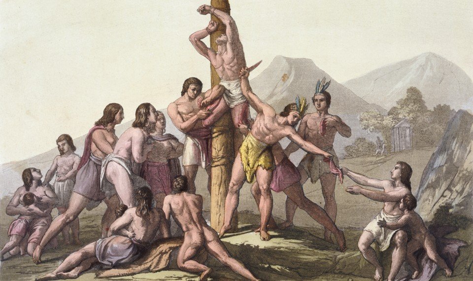 A painting of a group of people watching as a man is butchered while tied to a wooden pole