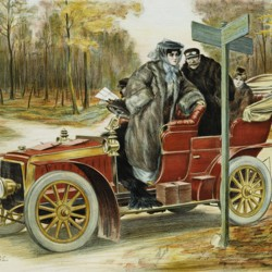 A painting of two people in an old-fashioned car, peering quizzically at a crossroads sign