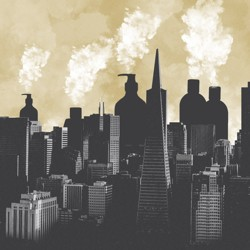 An illustration of a city skyline with giant bottles of lotion, perfume, and acetone emitting columns of smoke