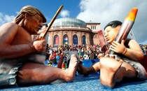 A carnival float depicting North Korean leader Kim Jong Un and U.S. President Donald Trump in Mainz, Germany, in 2018.