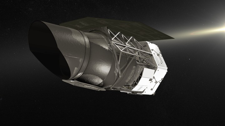 An illustration of NASA's Wide Field Infrared Survey Telescope (WFIRST)