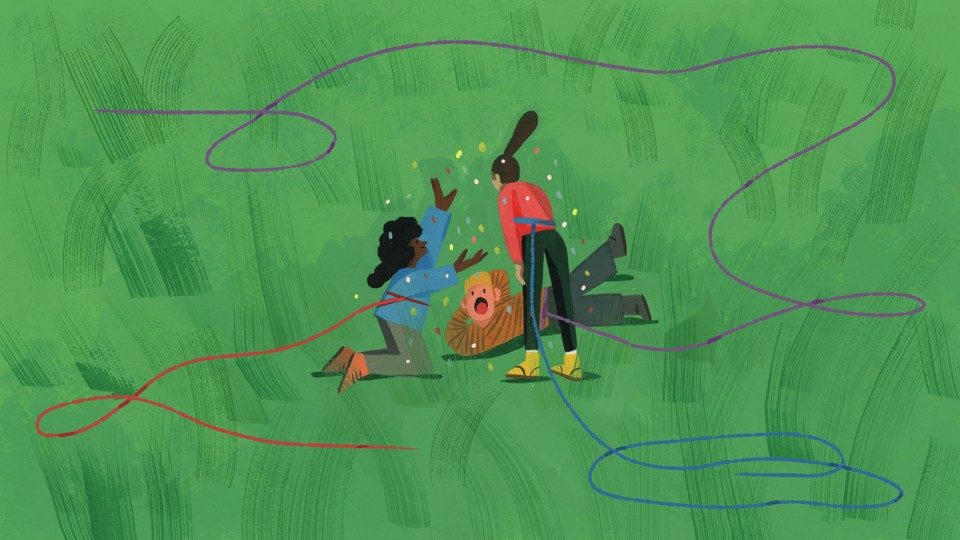 An illustration of three kids playing with long ropes around their waists