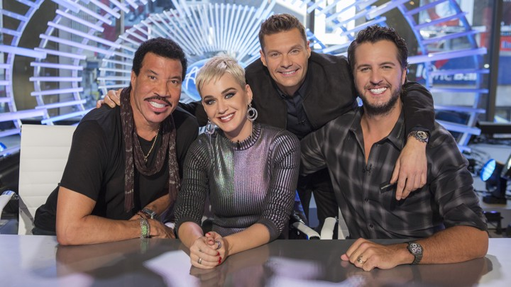 Lionel Richie, Katy Perry, Ryan Seacrest, and Luke Bryan