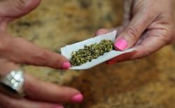 A woman's hands, with pink fingernail polish, holding a marijuana cigarette