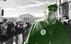 """A man wearing a """"March for Our Lives"""" pin, surrounded by a crowd in front of the National Gallery of Art"""