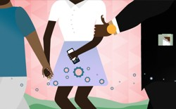 An illustration of a woman holding hands with a man in a T-shirt, while a man in a suit grabs her arm